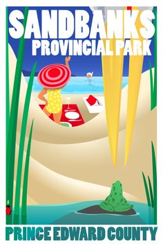 Marc Keelan-Bishop creates delightful vintage-style posters of Prince Edward County, Ontario Canada Prince Edward County Ontario, Ontario Provincial Parks, Ontario Place, Canada North, I Am Canadian, Destinations, Artists For Kids, Travel Illustration, Turquoise Water