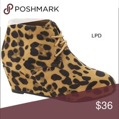 Leopard Lace Up Wedge Booties New in box Bella Marie Shoes Ankle Boots & Booties