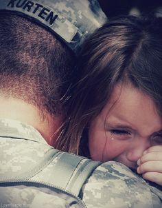 Sad deployment family military girl sad tears cry father army