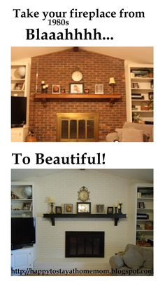 Fireplace Transformation: updated 1980s fireplace with ugly brass insert to current, bright and clean: white brick with black mantel and oil-rubbed bronze insert. Happy To Stay At Home Mom