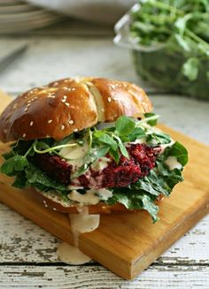 Beet and Chickpea Burgers with Feta and Tahini-vegetarian- non vegan...use flax seed instead of egg and drop cheese