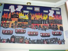 The Great Fire of London classroom display - I love the pupils in the boats escaping the flames.