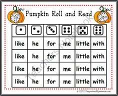 Pumpkin Roll and Read Sight Word Center Game from Can You Read It on TeachersNotebook.com (17 pages)