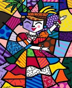 romero britto - carmen  miranda painting