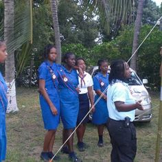 Girl Guides from Jamaica. Note the patterned trim on their sashes. #World Thinking Day
