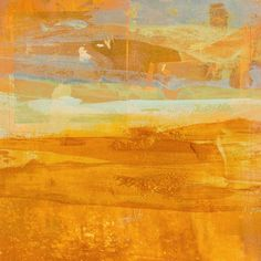 Citrus Dawn 1 Wall Art by Maeve Harris from Great BIG Canvas. Square abstract painting with layering brushstrokes in shades of orange, yellow, white, and grey and faint pencil lines underneath. Citrus Dawn 1 Wall Art by Maeve Harris from Great BIG Canvas.