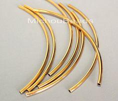 25 silber 100mm gebogene TUBE Beads 100X3mm von MichouBeads