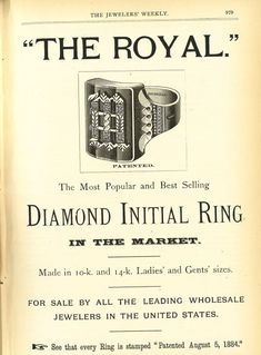 "R.S.F. & Co ""The Royal"" Diamond Initial Ring from the August 18, 1886 Jeweler's Weekly"