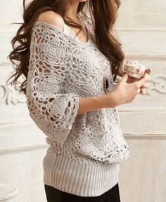 Women sweater lovely hook flower hollow-out sweater--SW033 op Etsy, 44,89 €