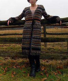 Take a look at this Black & Gray Stripe Wool-Blend Duster by Relais Knitwear