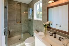 Contemporary 3/4 Bathroom with Frameless Shower Doors By Dulles Glass and Mirror, Everest White, Quartz, High ceiling, Carpet