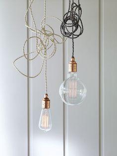 Twisted Flex & Copper Pendant Light Set - Slate - Ceiling Lights - Lighting
