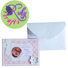 Christening invitation card Designed and sold by Ruby Crafts and Gifts Shop Christening Invitations, Birthday Invitations, Wedding Invitations, Invitation Card Design, Invitation Cards, Paper Crafts, Shop, Gifts, Things To Sell