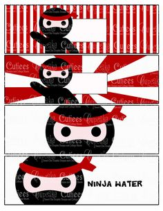 Ninja Love Digital Water Bottle Labels by CupcakeCutieesParty Water Bottle Labels, Water Bottles, Ninja Party, Double Stick Tape, Personalized Labels, 4th Birthday, Tigger, Free Printables, Digital