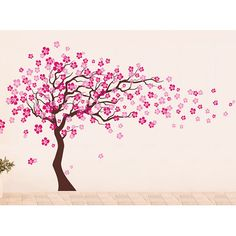 Pop Decors Cherry Blossom Tree Removable Vinyl Art Wall Decal & Reviews | Wayfair