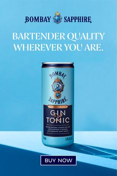 Click to order NEW BOMBAY Gin & Tonic RTD now! Tonic Water, Gin And Tonic, Cocktail Drinks, Cocktails, Surface Cleaners, Gentle Ben, Copy Ads, Premium Gin, Fish Sandwich