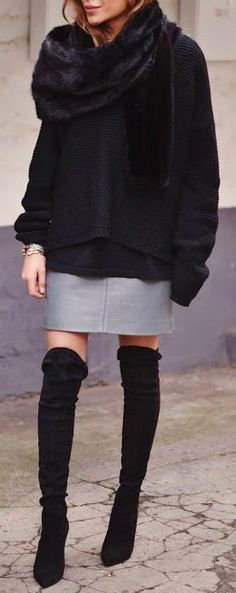 Chunky knit + tall boot.