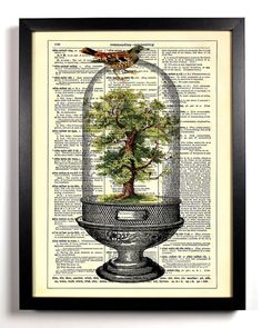 Tree Terrarium Repurposed Book Upcycled by StayGoldMedia on Etsy, $6.99