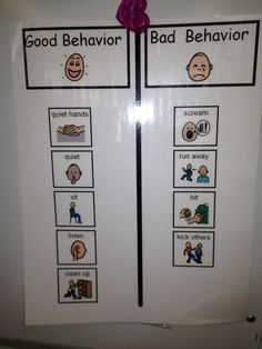 The Autism Tank: Home Visit Materials I like this chart, but would probably change the word behavior to choices and good to appropriate and bad to inappropriate or poor.