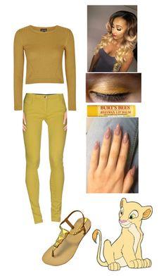 """If She Were Human Nala"" by wolfschaffer ❤ liked on Polyvore featuring Disney, Topshop, Patrizia Pepe, disney, golden and Nala"