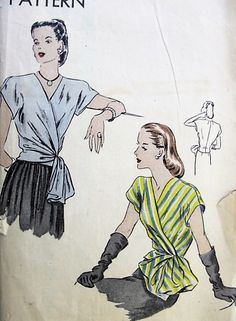 1940s LOVELY Wrap Around Surplice Blouse Pattern VOGUE 5294 Day or Evening Wear Large Chou Bow Easy To Make B 30 Vintage Forties Sewing Pattern
