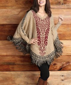 Another great find on #zulily! Mocha & Red Damask Poncho by Reborn Collection #zulilyfinds
