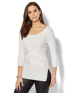 Shop Crisscross Ribbed-Knit Sweater - White . Find your perfect size online at the best price at New York