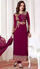 Purple Color Georgette Embroidered Pant Style Suit #georgettepantstylesuit #indiansuitforwomen Be prepared to slip in the comfort zone of purple color georgette embroidered pant style suit. The fantastic attire creates a dramatic canvas with fantastic floral patch, lace and resham work.  USD $ 84 (Around £ 58 & Euro 64)