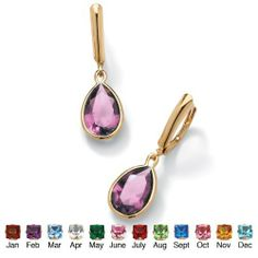 Pear-Shaped Simulated Birthstone 18k Yellow Gold over Sterling Silver Drop Earrings- June- Simulated Alexandrite Lil Bam Bino. $29.99. Save 61% Off!