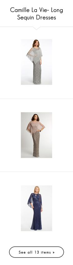 """Camille La Vie- Long Sequin Dresses"" by camillelavie on Polyvore featuring dresses, Sequins, camillelavie, LongDresses, sequindresses, chiffon dress, mother of the bride dresses, beaded mother of the bride dresses, white dress and floor length chiffon dress"