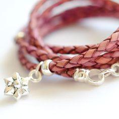 $142 Image of Leather wrap bracelet pink Flower by Vivien Frank