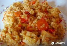 Csirkés-bulguros egytálétel Crossfit Diet, Cod Fish, Chana Masala, Fried Rice, Food And Drink, Yummy Food, Healthy Recipes, Dinner, Cooking
