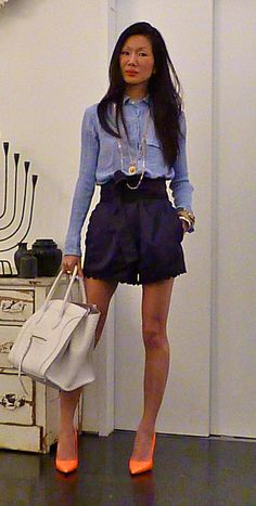 """blue + blue + bday celine bag + neon heels. noted, need some sun on the legs :)"" marissa webb"