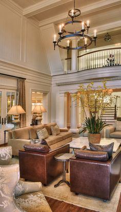Warm and inviting family room design #living #room Similar chandelier available here: http://www.myknobs.com/cra25529bbz.html
