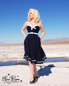 The Vintage Inspired Sailor Swing Dress in Navy with White Trim by Pinup Couture - In Sizes XS to 2X
