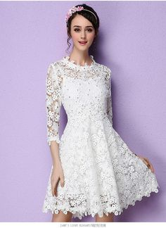 Long Sleeve Beaded White Lace Dress