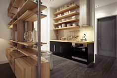 Though this type of open shelving does have a beautiful effect, anyone living here would need to invest in a step ladder and a good duster.