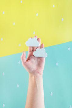 DIY concrete cloud knobs