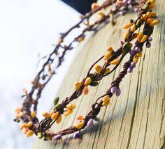 BBBL Yellow/Green pip berry head wreath or Yellow/Purple pip berry head wreath/bride/bridal party/bridesmaid/garland/unique headpiece