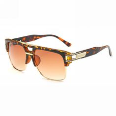 Retro Rectangle Pilot Sunglasses Tortoise Brown Gold Frame Brown Gradient Lens