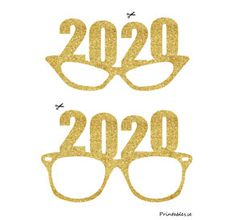 Photo booth props: Golden New Years Eve glasses fo Foto Props, Diy Photo Booth Props, Photo Booths, New Years Hat, Kids New Years Eve, New Year Props, New Year's Eve Hats, New Year Printables, New Years Eve Invitations