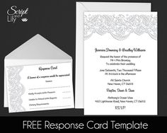 "Lace Invitation Template | FREE Response Cards | Wedding | INSTANT Download | EDIT Text | Black and White | Word or Pages | Pc & Mac | 5x7"" by ScriptAndLily on Etsy"