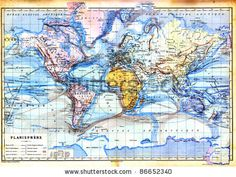 stock photo : The old map of planisphere or World map with colors in it. Vintage map from the late 19th century, Trousset encyclopedia (1886 - 1891).