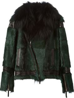 f5d7711bc00 Shop Roberto Cavalli fur biker jacket in Elite from the world s best  independent boutiques at farfetch