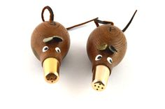 Wooden Mice Salt and Pepper Shakers Mid Century