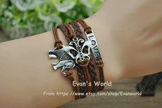 Silver Elephant Butterfly Love Bracelet Retro silver by Evanworld, $3.99 Beautiful handmade bracelet, a gift.