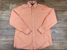 Tommy Hilfiger Mens XL Orange white stripe Button Up Long Sleeve shirt A055  | eBay