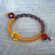 "Summer 2013 Casual Jewelry collection ""Circle of Life"" Series B orange-turqoise-yellow bracelet"