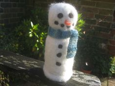 Needle felted snowman 'Eric' by KnitwitDesignsUK on Etsy, £16.00