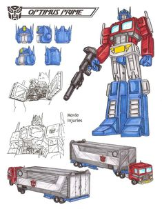 Optimus Prime is the largest, strongest and wisest of all Autobots. Feels his role is the protection of all life, including Earth-life. Fights unceasingly to defeat the Decepticons. Splits into three autonomous modules: 1) Optimus Prime...the brain center known as the Commander, 2) Roller, the Autobot scout car...a spy who operates up to 1200 miles away; and 3) Autobot Headquarters...the combat deck equipped with a versatile mechanic/artillery robot. Injury to one module is felt by the other…